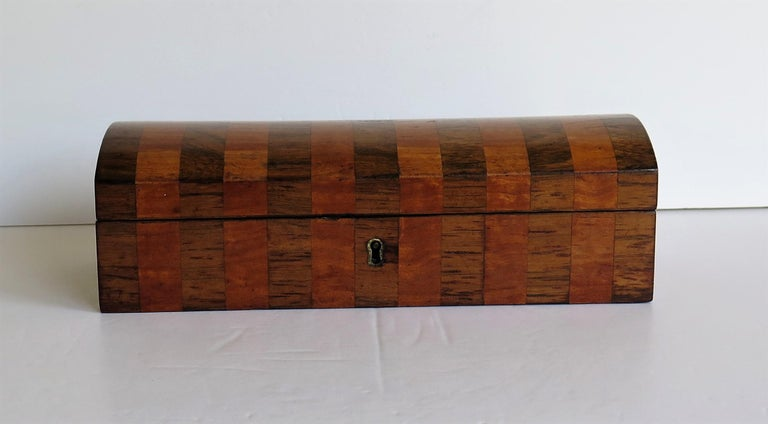 Georgian Box with Domed Lid Cross Banded Mahogany and Satinwood, circa 1810 For Sale 8