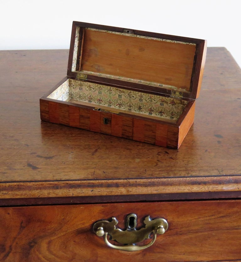 Georgian Box with Domed Lid Cross Banded Mahogany and Satinwood, circa 1810 For Sale 13
