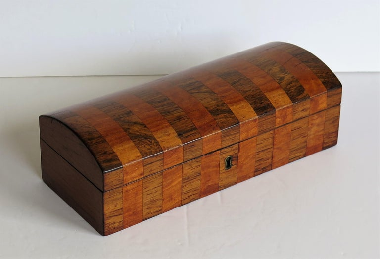 Hand-Crafted Georgian Box with Domed Lid Cross Banded Mahogany and Satinwood, circa 1810 For Sale