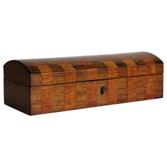 Georgian Box with Domed Lid Cross Banded Mahogany and Satinwood, circa 1810