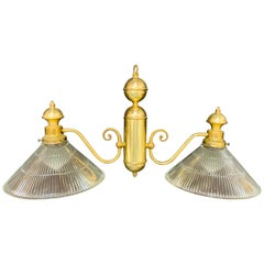 Georgian Brass Two Flared Glass Shades Pendant or Chandelier