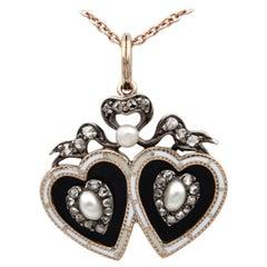 Georgian Bristol Glass Natural Pearl and Diamond Sweetheart Pendant