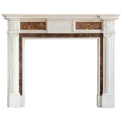 Georgian Brocatello and Statuary Marble Fireplace