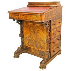 Georgian Burl Mahogany and Walnut Davenport