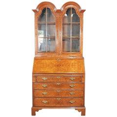 Georgian Burled Walnut Tombstone Glazed Secretary Desk with Individual Glass