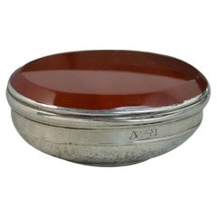 Georgian Carnelian and Solid Silver Snuff Table Box