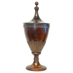 Georgian Carved Mahogany Zinc Lined Urn Shape Lidded Wine Cooler, England