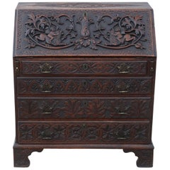 Georgian Carved Oak Bureau Desk