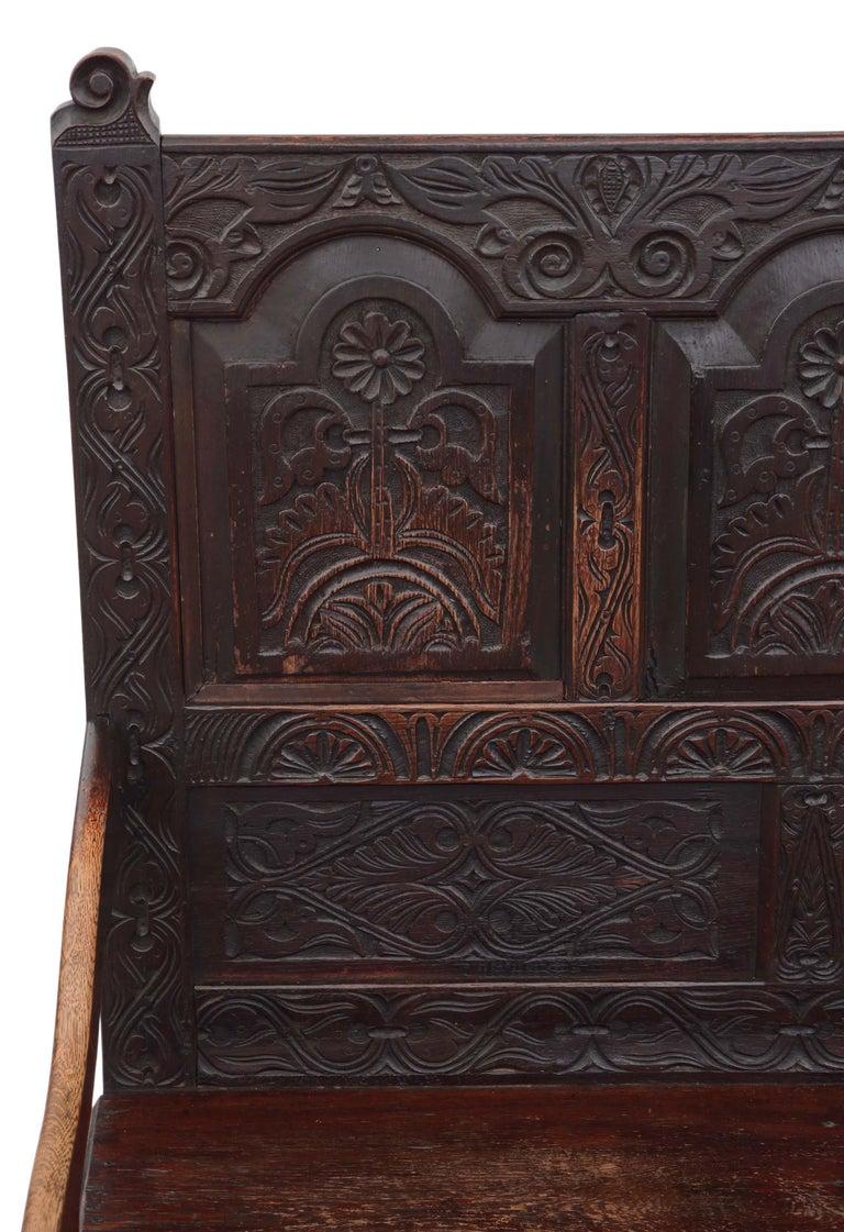 Sensational Georgian Carved Oak Settle Bench Beatyapartments Chair Design Images Beatyapartmentscom