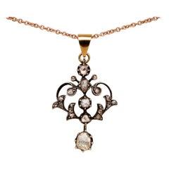 Georgian Charming .95 Carat Rose Cut Diamond Rare Lavaliere Necklace