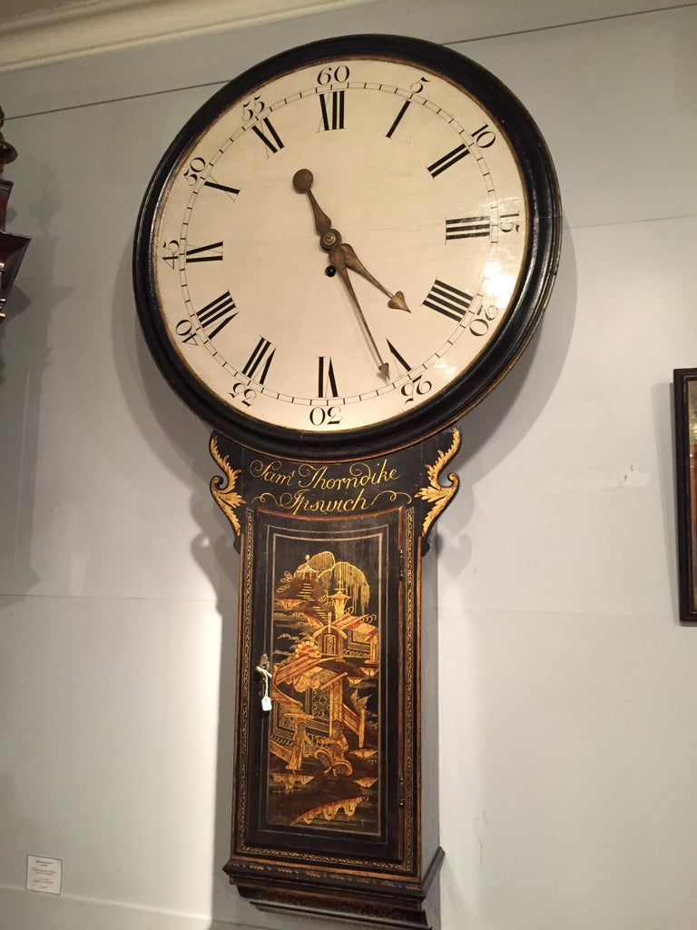 18th Century Antique Chinoiserie Tavern Wall Clock by Samuel Thorndike, Ipswich