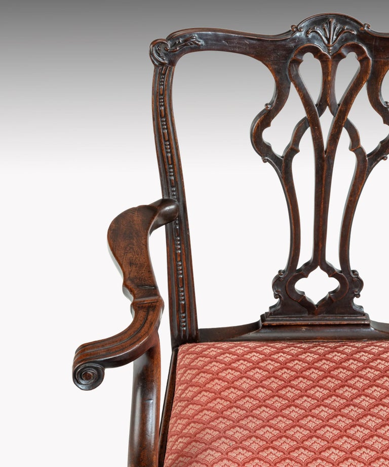Carved Georgian Chippendale Style Mahogany Armchair For Sale