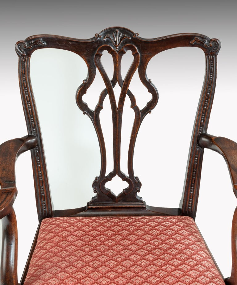 Georgian Chippendale Style Mahogany Armchair In Good Condition For Sale In London, GB