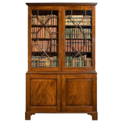 Georgian Chippendale Mahogany Cupboard Base Bookcase