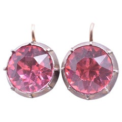 Georgian circa 1820 Round Pink Paste Earrings Backed in Silver