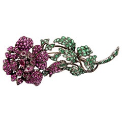 Georgian, circa 1830, 14.0 Ct Ruby & 7.5 Carat Emerald Floral Rose Spray Brooch