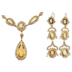 Georgian Citrine Natural Pearl Gold Necklace and Earring Set, circa 1820