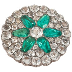 Georgian Cluster Brooch of Green & White Paste Set in Silver, English circa 1825