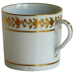 Georgian Coalport Porcelain Coffee Can, Hand Painted Gilded Pattern, circa 1810