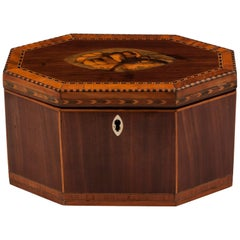 Georgian Conch Shell Inlaid Octagonal Tea Caddy
