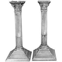 Georgian Corinthian Column Sterling Candlesticks