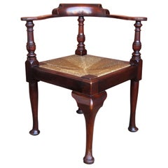 Georgian Corner Chair or Armchair in Mahogany with Rush Seat, English circa 1780