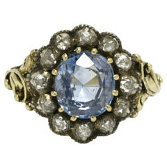 Georgian Cornflower Oval Blue Sapphire 14 Karat Gold Diamond Antique Ring