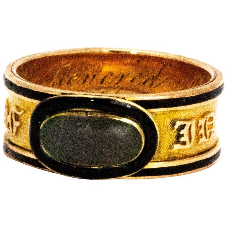Georgian Crystal and Enamel 18 Carat Engraved Memorial Band For Sale