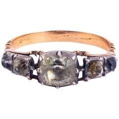 Georgian Crystal Five-Stone 15 Carat Gold Ring