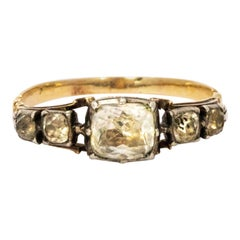 Georgian Crystal Five-Stone 15 Karat Gold Ring