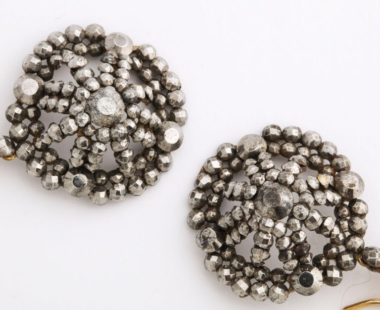 Georgian Cut Steel Dome Earrings Swing and Sway In Excellent Condition For Sale In Stamford, CT