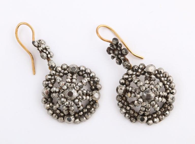 Women's Georgian Cut Steel Dome Earrings Swing and Sway For Sale