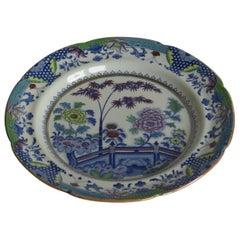 Georgian Davenport Ironstone Dinner Plate Bamboo and Peony Ptn 15, Circa 1810
