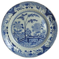 Georgian Davenport Ironstone Dinner Plate in Bamboo and Peony Ptn 15, Circa 1810