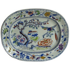 Georgian Davenport Ironstone Platter in the Flying Bird Pattern, circa 1820