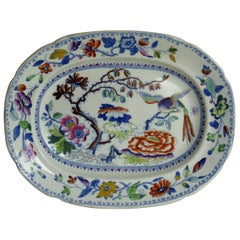 Georgian Davenport Platter, Ironstone Hand Painted Flying Bird Ptn, circa 1820