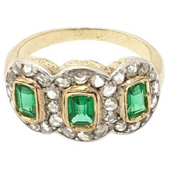 Victorian Diamond-Emerald Cluster Ring