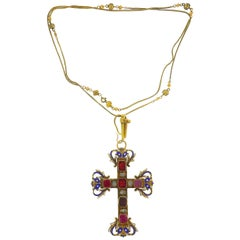 Georgian Diamond Enamel Gold Cross Pendant Necklace Reversible