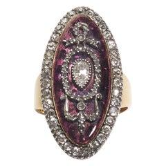 Georgian Diamond Enamel Silver and Gold Ring