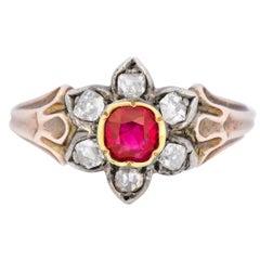 Georgian Diamond Ruby 14 Karat Gold Silver Cluster Ring, circa 1870