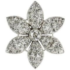 Georgian Diamond Set Jasmine Flower Brooch
