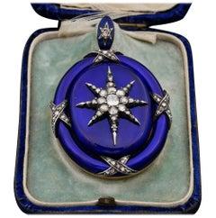 Georgian Diamond Star-Burst Blue Enamel Large Celestial Locket, circa 1800