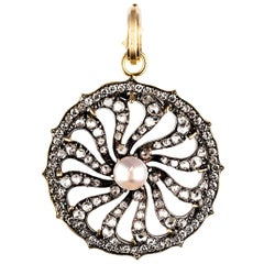 Georgian Diamond Wheel Pendant with Diamonds and Pearl Center in 18k Yellow Gold