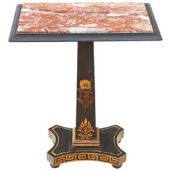 Georgian Ebonized Decorated Side Occasional Table Marble