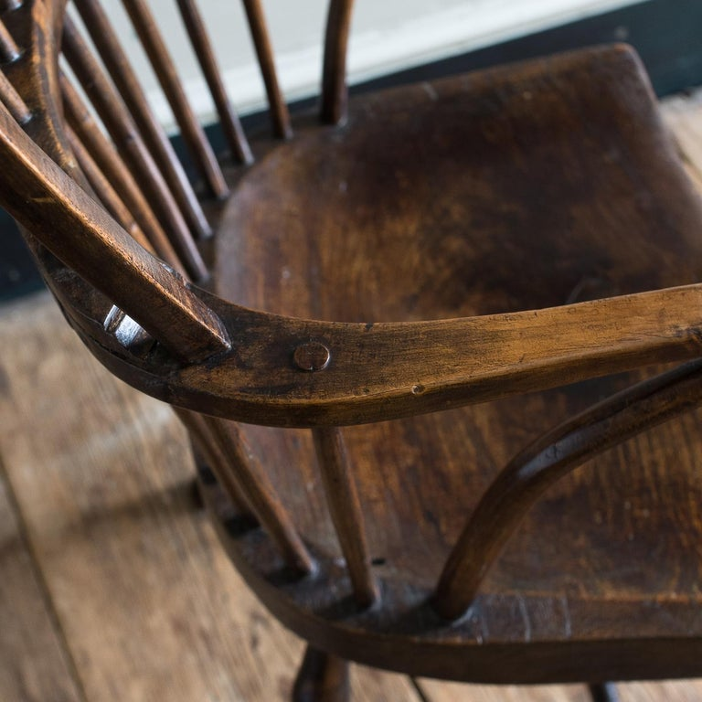 Late 18th century English West Country Windsor armchair, Cornish, circa 1800, sycamore with elm seat.