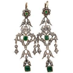 Georgian Emerald Diamond Spectacular Earrings