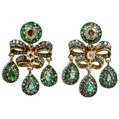 Georgian Emerald European Cut Diamond Earrings