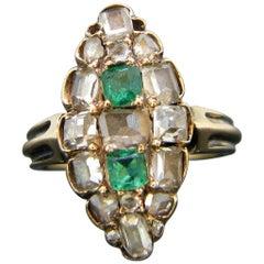 Georgian Emerald Table Cut Diamond Yellow Gold Marquise Ring
