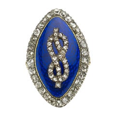 Georgian Enamel and Diamond Ring Circa 1780
