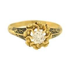 Georgian Enameled 0.60 Carat Diamond Engagement Ring